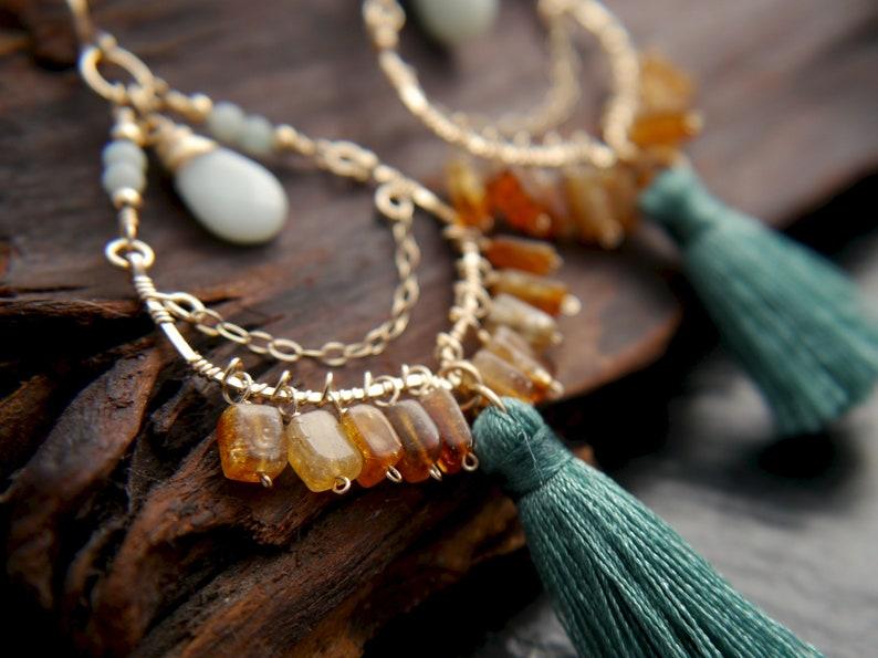 Hippie Tassel Earrings Citrine Earrings Ethnic Fringe Earrings Bohemian Gold Filled Earrings Boho Large Chandelier Earrings Anthro