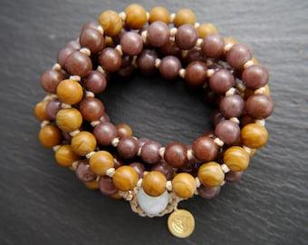 Mala Beads, 108, Tigerskin Jasper, Purple Aventurine, Mala Necklace, Mala Bracelet, Gemstone Beads, Wrap Bracelet, No Tassel, Knotted, Charm