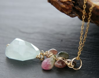 Aquamarine Pendant Necklace, 14K Gold Filled, Wire Wrapped, Pink Tourmaline Flower Necklace, Natural Stone, Raw Stone, Floral, Wedding, Boho