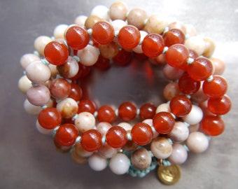 Mala Beads, 108, Morocco Agate, Carnelian, Gemstone Necklace, Long Beaded Necklace, Mala Bracelet, Knotted, Mala Necklace, No Tassel, Charm