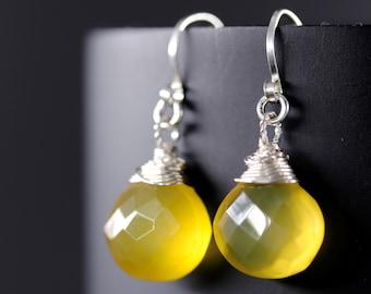 Yellow Chalcedony Earrings, Sterling Silver Earrings, Heart Briolette Earrings, Gemstone, Wire Wrapped Gemstone Earrings, Marigold