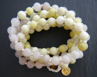 Mala Beads, Pink Aventurine, Green Peridot Jasper, Gemstone Beads, Gold Vermeil, Sterling Silver, Charm,Om, Lotus, Leaf, Spiritual, Yoga