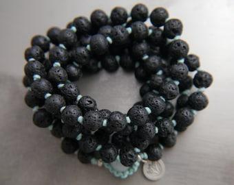 Mala Beads, 108, Lava Rock, Lava Stone, Black, Mala Necklace, Mala Bracelet, Long Beaded Necklace, Gemstone Beads, Knotted, No Tassel, Charm