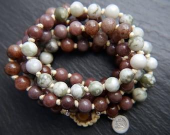Mala Beads, Peace Jade, Purple Aventurine, Mala Necklace, Mala Bracelet, Long Beaded Necklace, Gemstone Necklace, Gemstone Beads, No Tassel