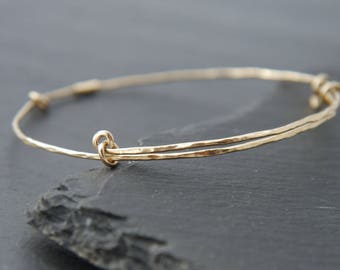 Thin Gold Bracelet, Adjustable Bangle Bracelet, 14K Gold Fill, Hammered Gold Bracelet, Layering Bracelet, Stacking Bracelet,  Bohemian, Boho