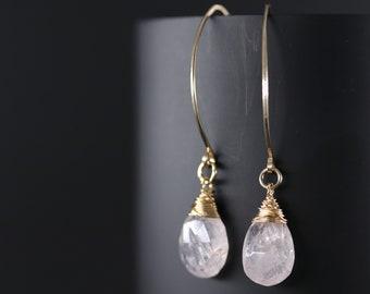 Pink Morganite Wire Wrapped Long Hoop Earrings, 14K Gold Filled Earrings, Marquise Gemstone Earrings, Blush Pink