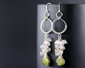 Green Vesuvianite and Rose Quartz Sterling Silver Long Dangle Earrings, Cluster Gemstone Earrings, Pink and Green