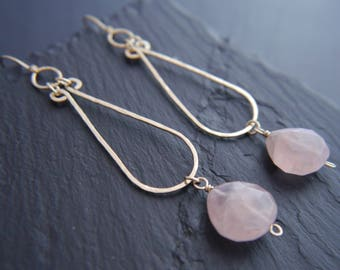 Rose Quartz Earrings, Gold Filled Earrings, Teardrop Hoop Earrings, Wire Wrapped Earrings, Wedding Earrings, Pink Gemstone, Bohemian, Boho