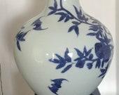 Chinese blue and white 39 9 peaches 3 bats 39 bottle vase Qianlong mark Globe Vase