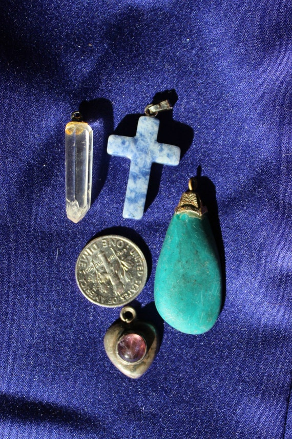 4 gemstone pendants blue stone cross crystal amethyst etsy image 0 aloadofball Choice Image