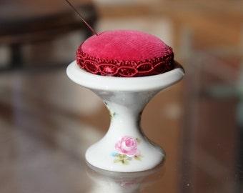 Limoges France vintage porcelain Pedestal Pincushion