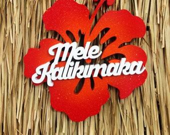 Mele Kalikimaka Hibiscus Wood Sign