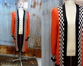 5667ec7400 Red Duster Sweater Cardigan Vintage Checker Print Long Sweater Geometric  Oversize Duster Jacket Sweater Coat Boho Clothing