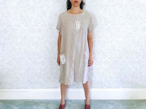 Vintage Linen Dress Oatmeal Minimalist Tent Trapez