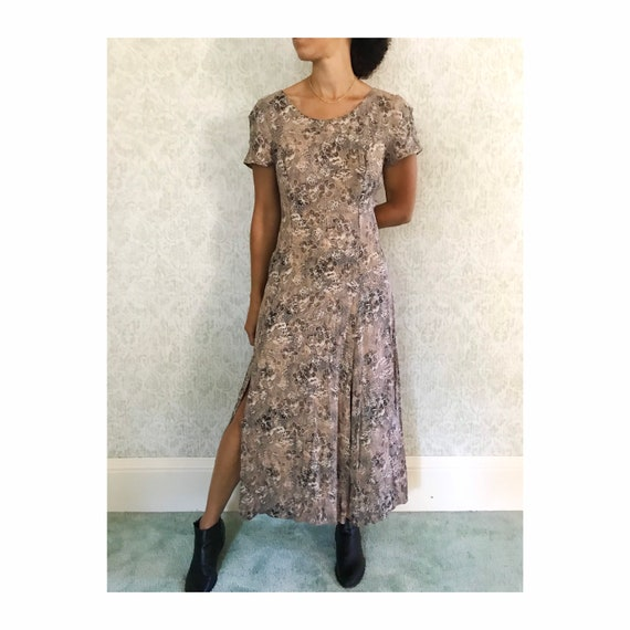 Vintage Sheath Dress Double Slit Floral Print Grun