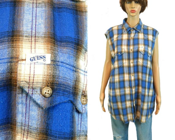 Vintage GUESS Shirt 90s Grunge Sleeveless Top Unisex Flannel Plaid Button Down Oversize Revival 1990 100 /% Cotton Festival Clothing Cut Off