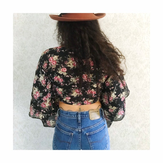 Vintage Floral Tiered Ruffle Sleeve Peasant Shirt… - image 6