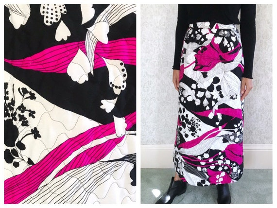 Vintage Quilted A Line Skirt 60s Embroidered High