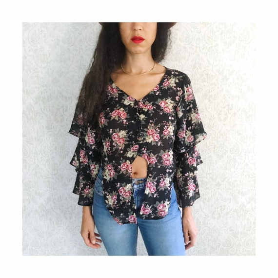 Vintage Floral Tiered Ruffle Sleeve Peasant Shirt… - image 8