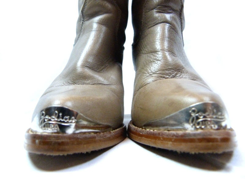 Vintage ZODIAC Boots/ Steel Toe Boots/ Heeled Size 6.5 80's Leather Heeled Boots/ Cowboy Boho Shoes /Mid Wood Heel Western 1980s Ladies Sz 6 1/2 0ca12f