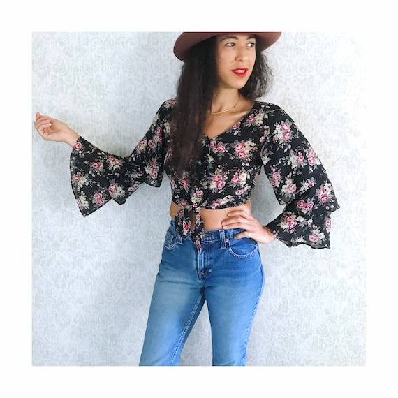 Vintage Floral Tiered Ruffle Sleeve Peasant Shirt