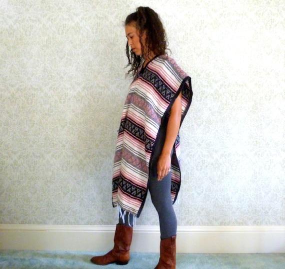 Vintage Mexican Blanket Poncho Baja Striped Cape T