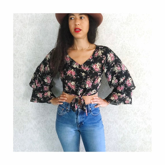 Vintage Floral Tiered Ruffle Sleeve Peasant Shirt… - image 4