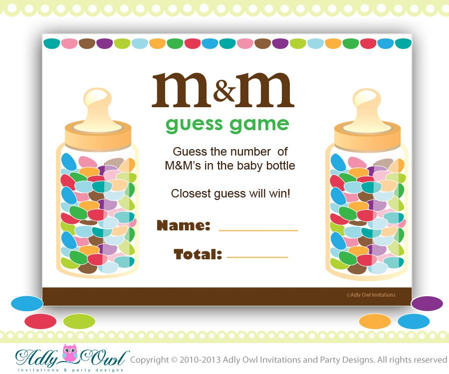 M & M's Baby Shower Game Printable Fun Baby Shower Games