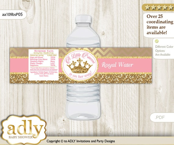 Princess Tutu Gold Glitter Baby Shower Personalized Water Bottle Labels Set of 5