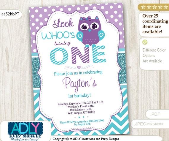 Purple Teal Turquoise Owl Birthday Invitation Glitter