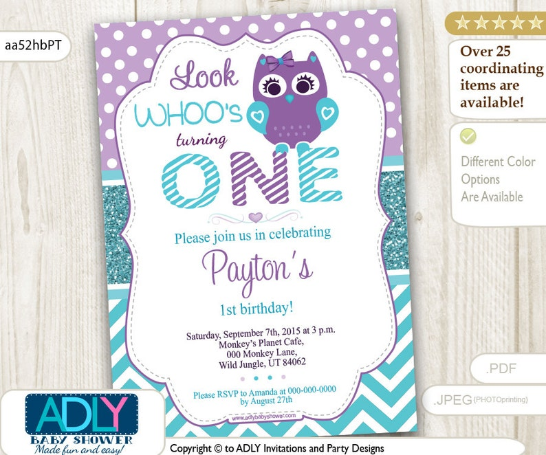Purple Teal Turquoise Owl Birthday Invitation Glitter