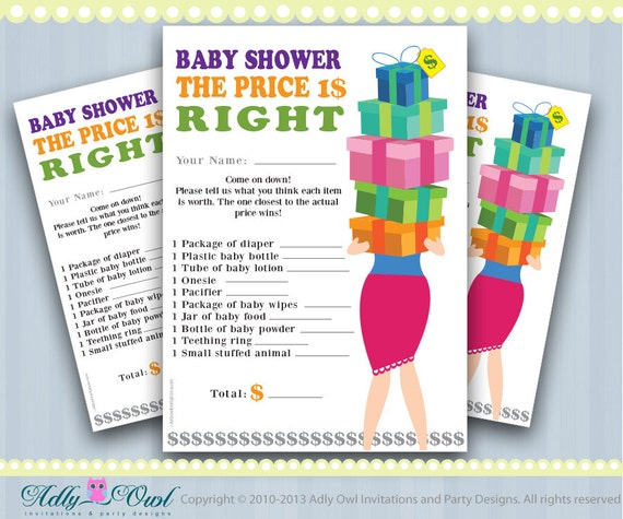 Price Is Right Baby Shower Game Printable Fun Baby Shower Etsy