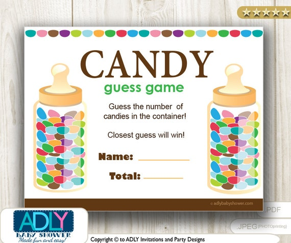 guess candy game for baby shower printable fun baby shower etsy