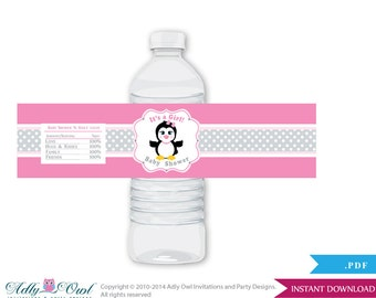 Girl Penguin Baby Shower Water Bottle Wrappers, Labels, - it's a Girl Pink Gray, Polka - aa10bs5
