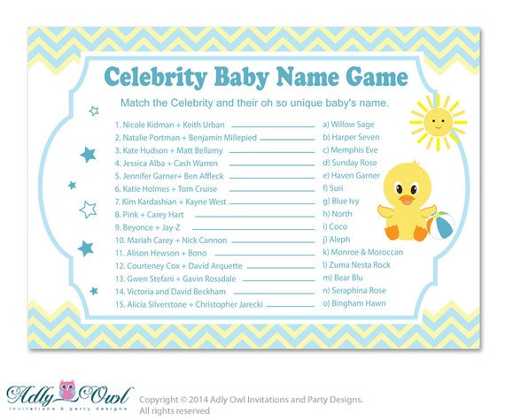 boy duck celebrity name game guess celebrity baby name game etsy. Black Bedroom Furniture Sets. Home Design Ideas