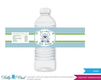 Boy Koala Baby Shower Water Bottle Wrappers, Labels, - it's a Boy Grey Green , Chevron - aa4bs5