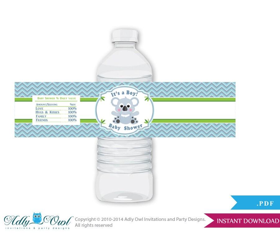 Boy Koala Baby Shower Water Bottle Wrappers Labels