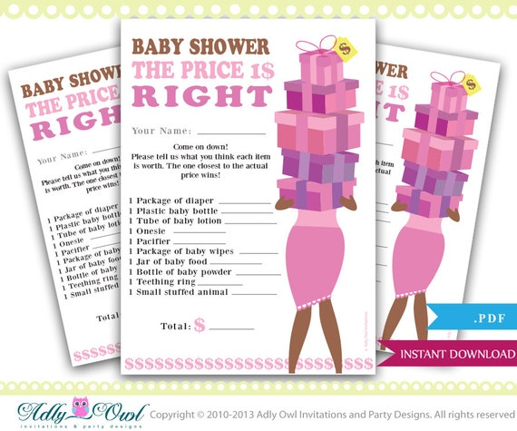 Price Is Right African American Baby Girl Shower Game Etsy