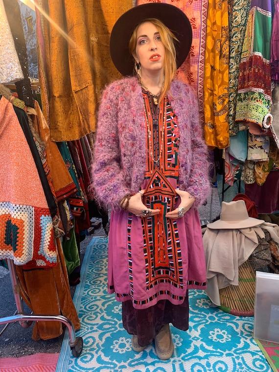 70s handmade whool fluffy cardigan