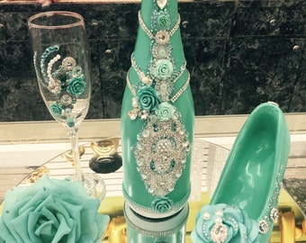 Custom Made Quinceanera Champagne Glass and Bottle Set