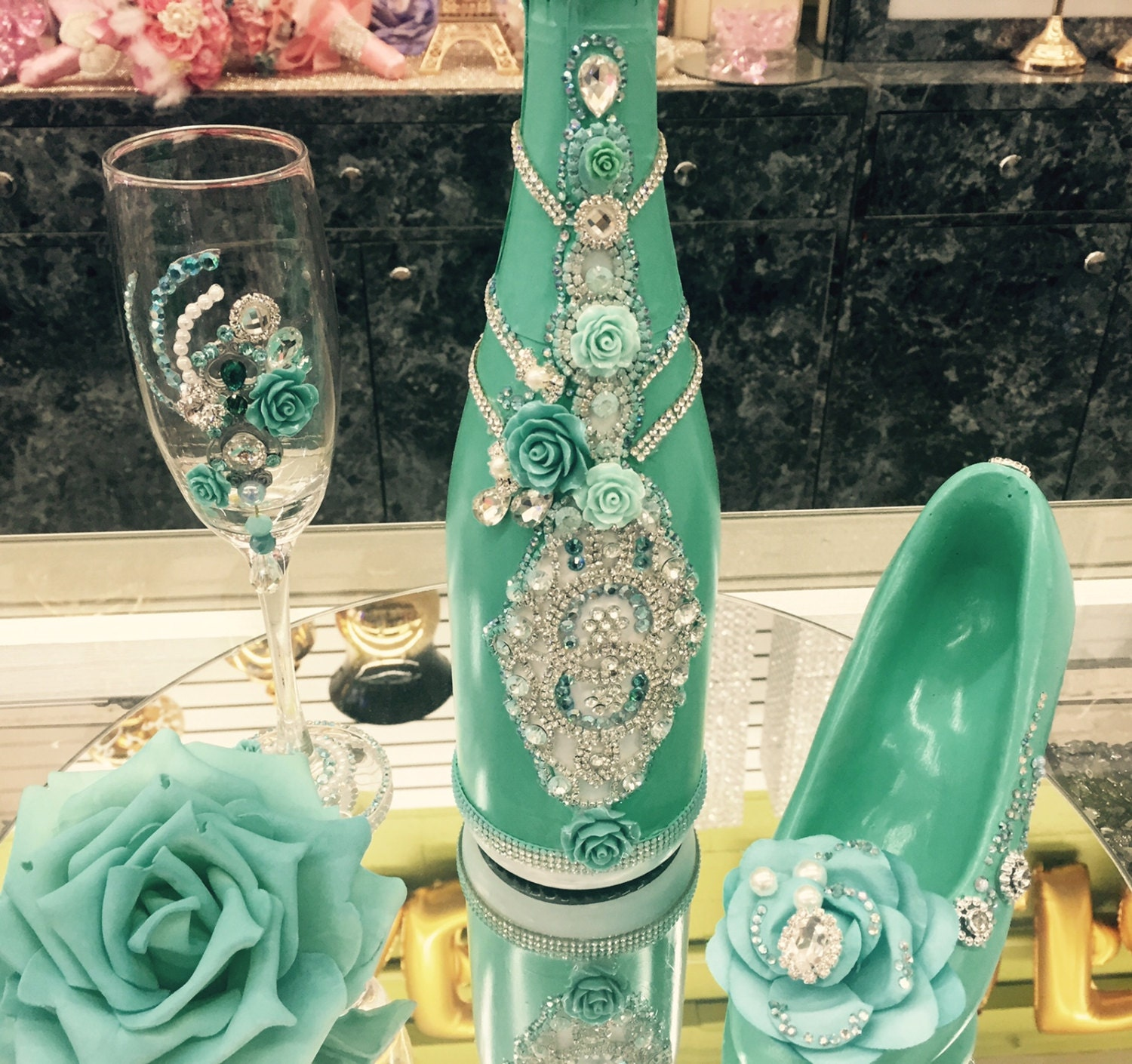 Custom Made Quinceanera Champagne Glass And Bottle Set Etsy