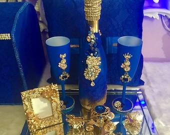 Royal blue Champaign set