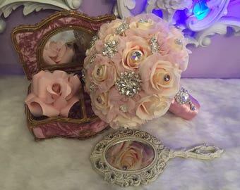 Pink Blush silver Quinceniera bouquet