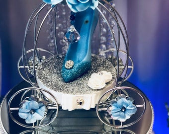 Cinderella carriage decorated with cryarlas, glitter and conderella shoe!