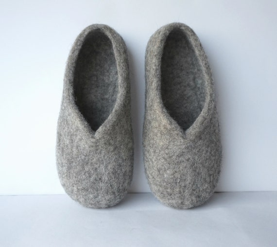 bc11e712c7b22 Felted women slippers, felted wool slippers, felt wool slippers, house  shoes, felt women's slippers, grey shoes. Handmade to order