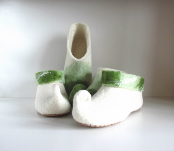 shoes felted women mens Felted slippers slippers slippers slippers gnome elf wool felt green slippers slippers white slippers 8qqBARxUw