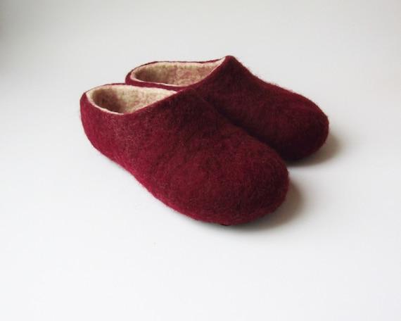 wool felt women white house slippers shoes slippers slippers Handmade felt order felted wool shoes Felted slippers red house to qft1Rwq