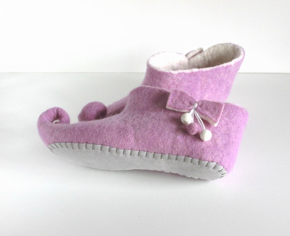 shoes white purple felt house slippers women wool slippers felted elf slippers wool slippers slippers gnome Felted slippers BA0zx