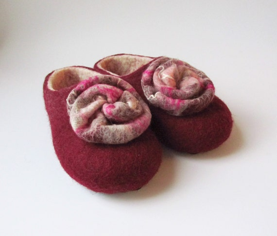 slippers white burgundy shoes wool Felted women slippers shoes women house wool slippers felt felted slippers felt slippers felt qnZZRSxwta