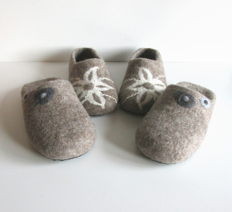 a6643fdf0e5a7 Felted wool slippers , felted slippers , women slippers , mens slippers ,  wool slippers , felt slippers , house shoes . Handmade to order